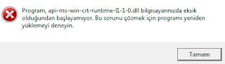 api-ms-win-crt-runtime-l1-1-0.dll hatası çözümü