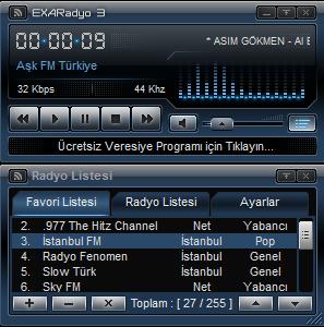 EXARadyo ücretsiz radyo dinleme programı