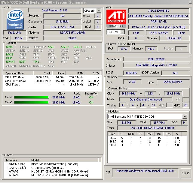 HWiNFO 6.22 Bilgisayarınızın özelliklerini edinin