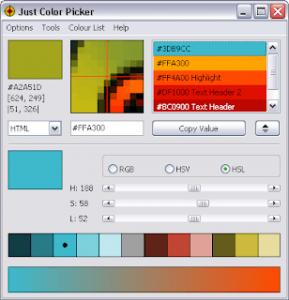 Just Color Picker, Renk kodunu elde etme yazılımı