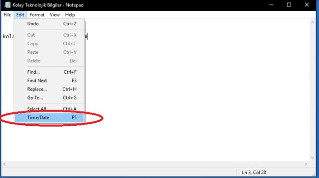 Not defteri uygulamasında tarih saat nasıl otomatik olarak yazdırılır?