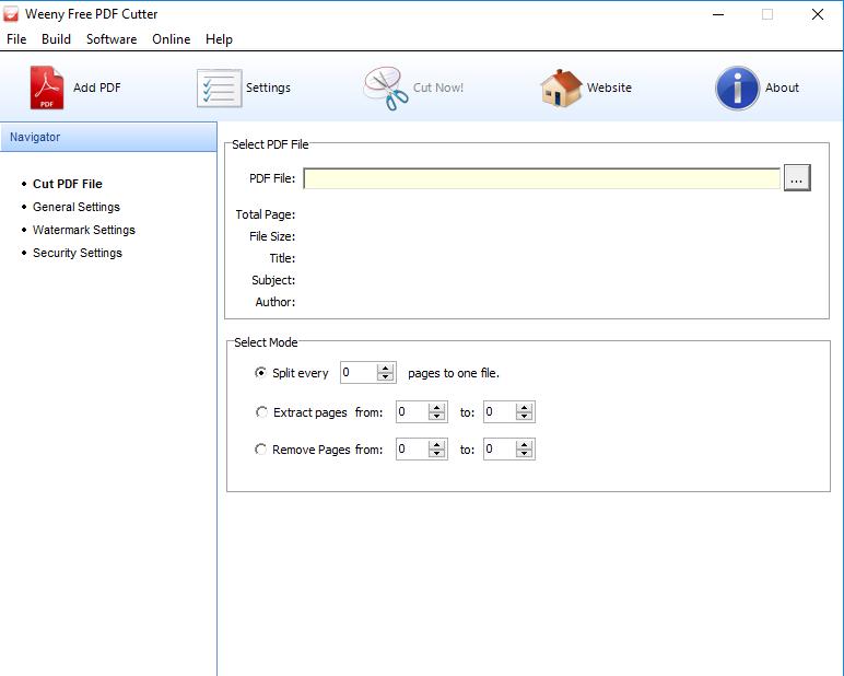 Pdf Bölme yazılımı – Weeny Free PDF Cutter 2.0