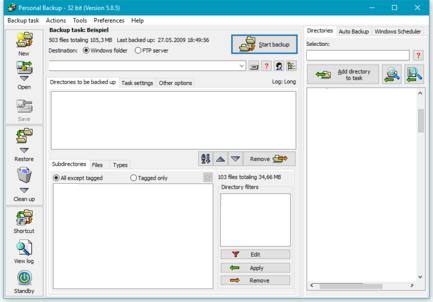 Personal Backup 5.9.4.5 Yedek alma yazılımı